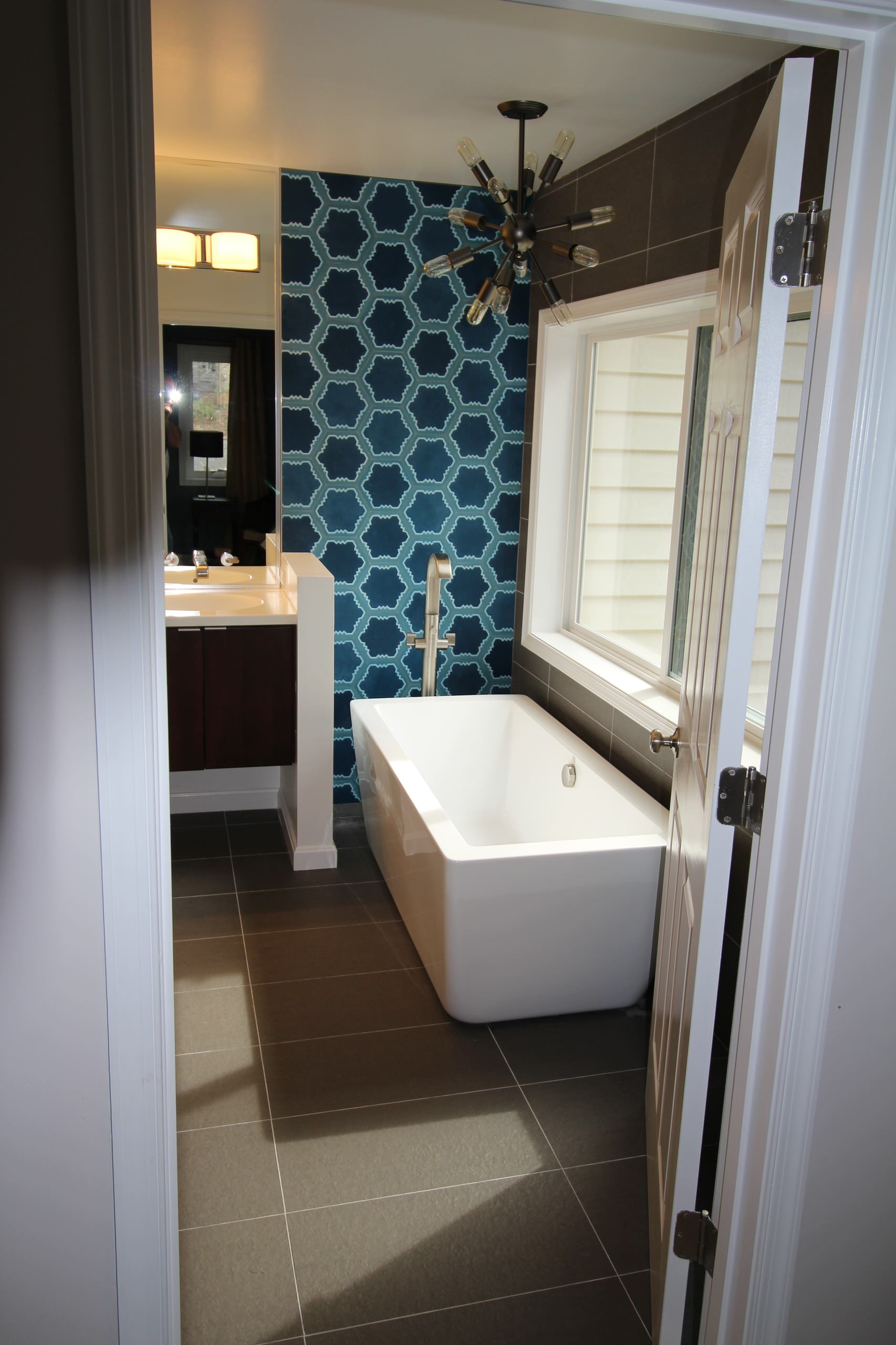 Striking Blue Tile Bath