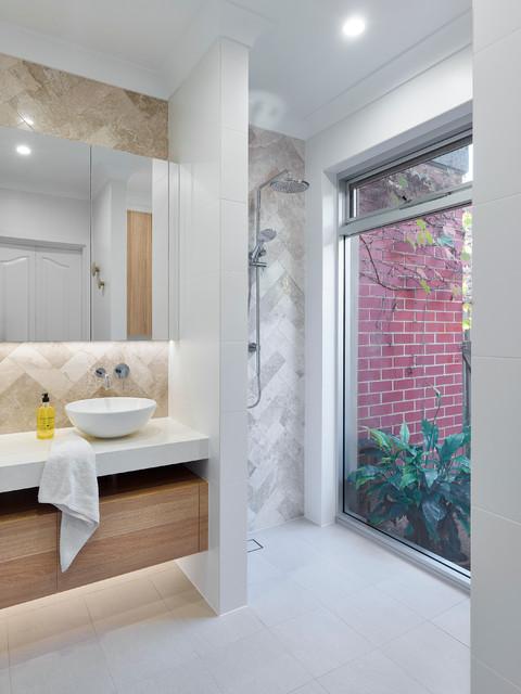 Striking Contemporary Bungalow Upgrade Contemporary Bathroom Adelaide By Brilliant Sa