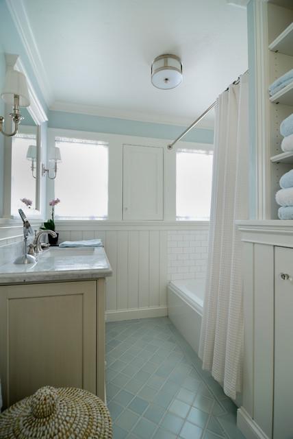 Stucco tudor cottage craftsman bathroom san for Tudor bathroom ideas