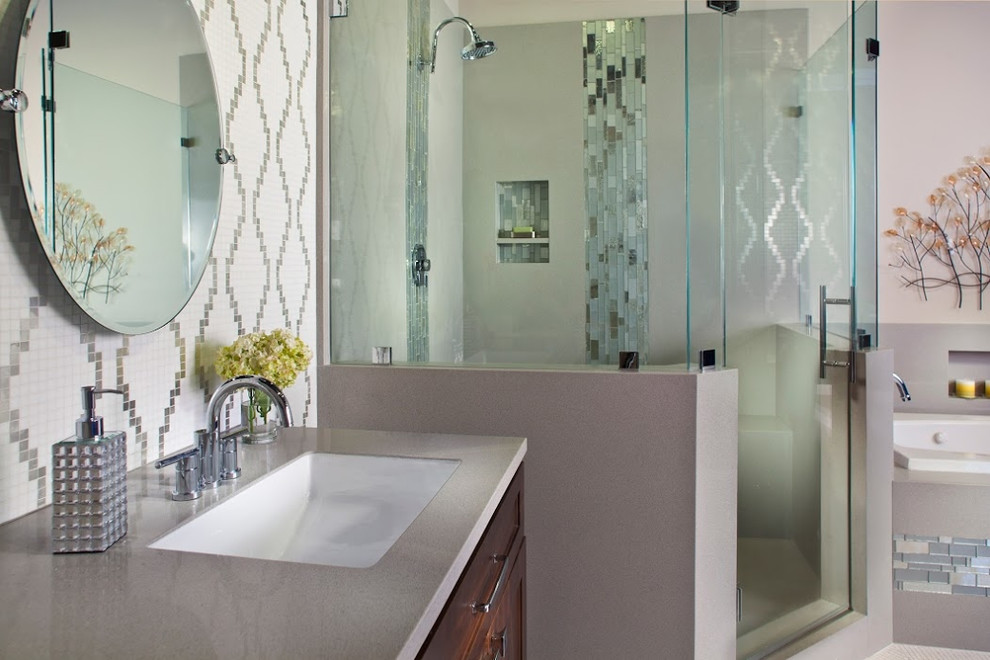 Stunning & serene custom bathroom. - Contemporary ...