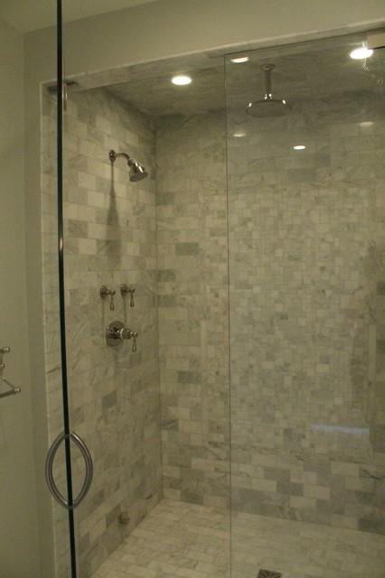 Stunning Marble Walk In Shower Traditional Bathroom