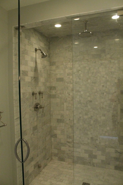 Stunning Marble Walk-in Shower traditional-bathroom