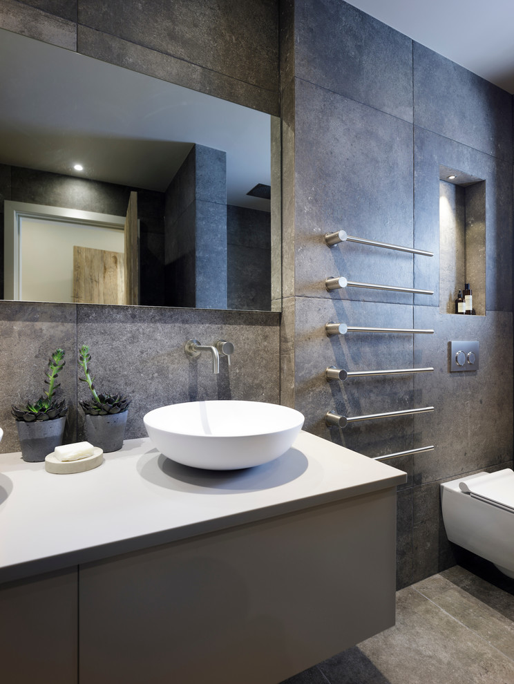 Stylish Ensuite With Dark Ceramic Tiles Vola Contemporary Bathroom Cheshire By Janey Butler Interiors