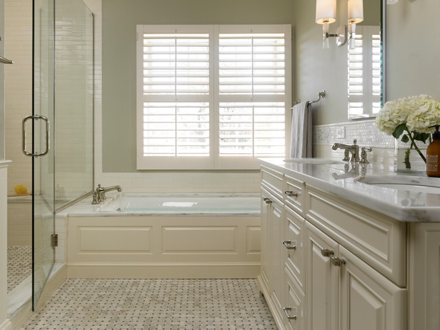 Suburban master bath warm white traditional traditional for Master bathroom white