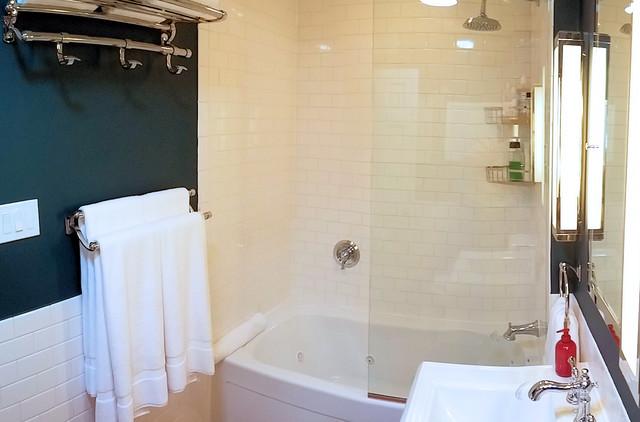 Subway and Saltillo Tile Bath Remodel bathroom