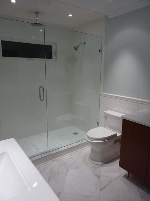 Subway Carrara Glass Tile Bathroom Modern Bathroom