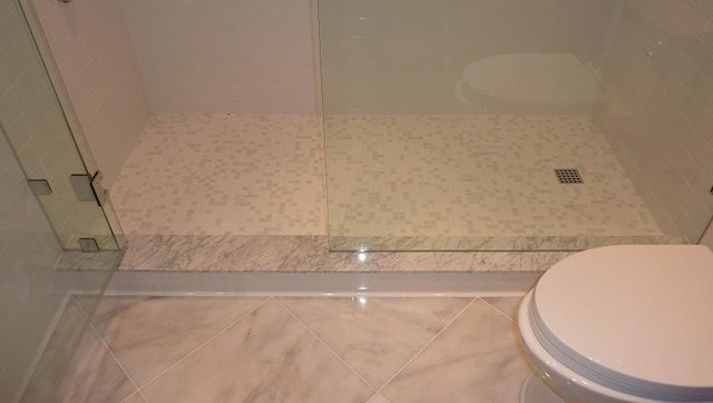 Subway, Carrara & Glass Tile Bathroom modern bathroom