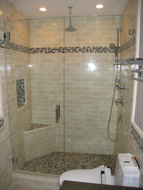 Subway tile shower contemporary bathroom san diego for Modern subway tile bathroom designs