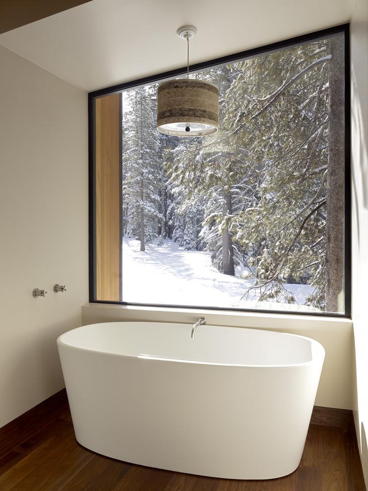 Example of a minimalist freestanding bathtub design in Sacramento