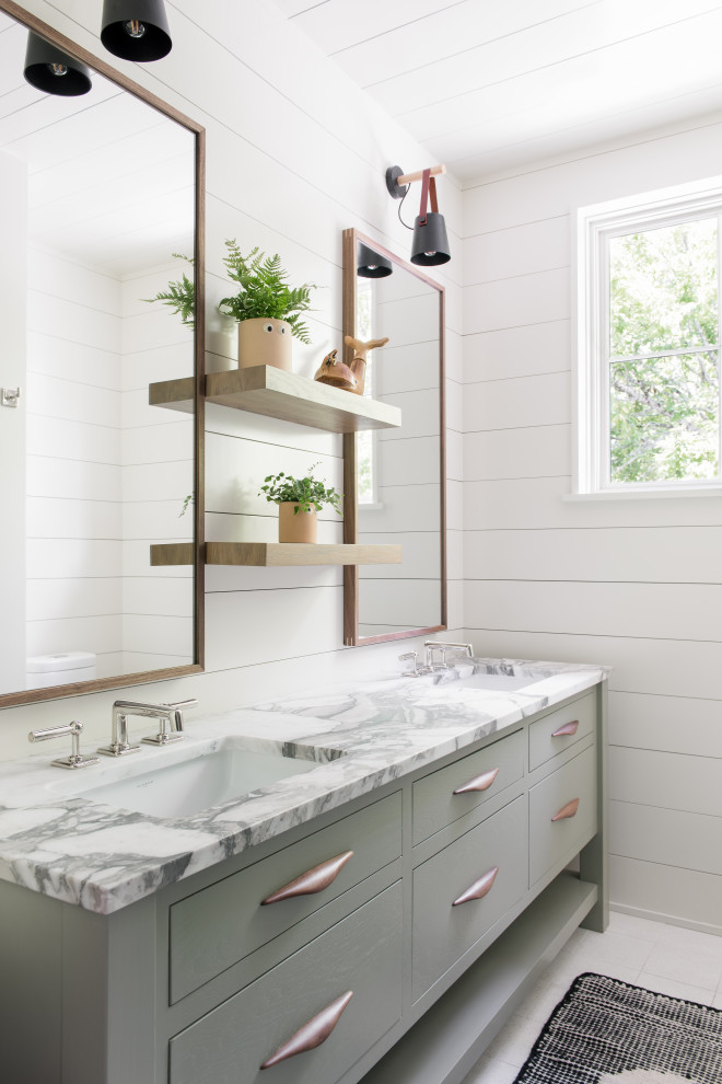 Inspiration for a coastal double-sink, shiplap ceiling and shiplap wall bathroom remodel in Charleston with flat-panel cabinets, white walls, an undermount sink, multicolored countertops and a freestanding vanity