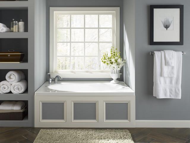 Bathroom Nook sunny bathtub nook with storage alcoves - traditional - bathroom