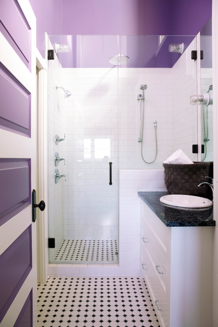 This is an example of a medium sized traditional shower room in Calgary with recessed-panel cabinets, white cabinets, an alcove shower, white tiles, metro tiles, purple walls, porcelain flooring, a built-in sink, granite worktops, multi-coloured floors and a hinged door.