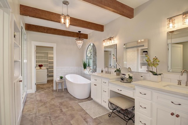 Mid-sized elegant white tile freestanding bathtub photo in Sacramento with shaker cabinets, white cabinets, gray walls and an undermount sink
