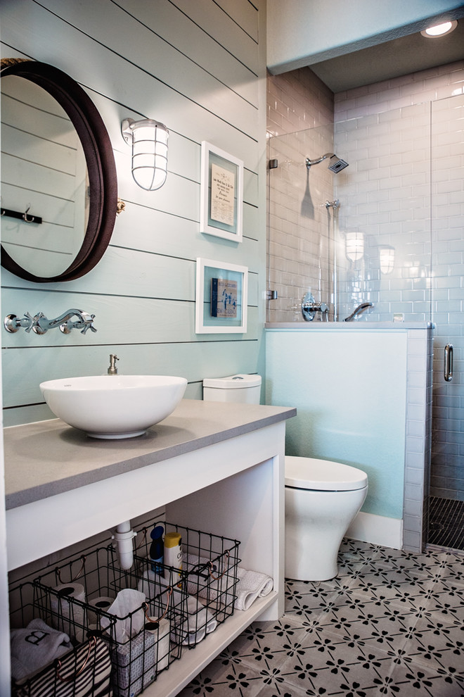 Inspiration for a large coastal 3/4 white tile and subway tile cement tile floor and multicolored floor alcove shower remodel in Dallas with open cabinets, white cabinets, green walls, a vessel sink, concrete countertops and a hinged shower door