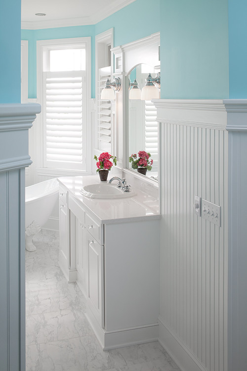 How does the beadboard standup in the bathroom - Bathroom remodel ideas with wainscoting ...