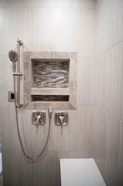 Large trendy master beige tile, brown tile, gray tile and porcelain tile dark wood floor and brown floor alcove shower photo in Salt Lake City with shaker cabinets, white cabinets, an undermount tub, a two-piece toilet, gray walls, an undermount sink, solid surface countertops and a hinged shower door