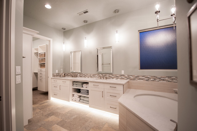 Bathroom - large transitional master beige tile, brown tile, gray tile and porcelain tile porcelain floor and multicolored floor bathroom idea in Salt Lake City with shaker cabinets, white cabinets, an undermount tub, a two-piece toilet, gray walls, an undermount sink and solid surface countertops