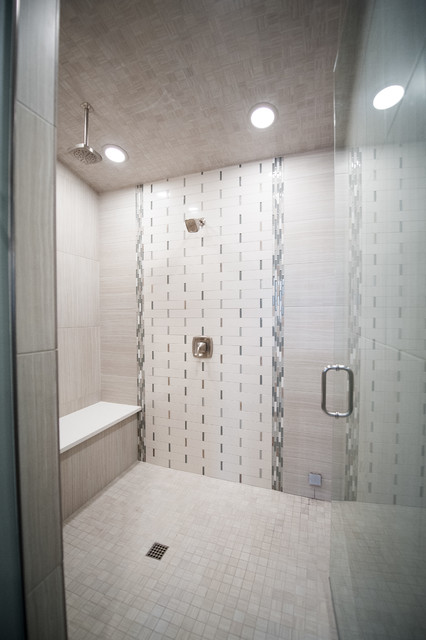 Example of a large trendy master beige tile, brown tile, gray tile and porcelain tile dark wood floor and brown floor alcove shower design in Salt Lake City with shaker cabinets, white cabinets, an undermount tub, a two-piece toilet, gray walls, an undermount sink, solid surface countertops and a hinged shower door
