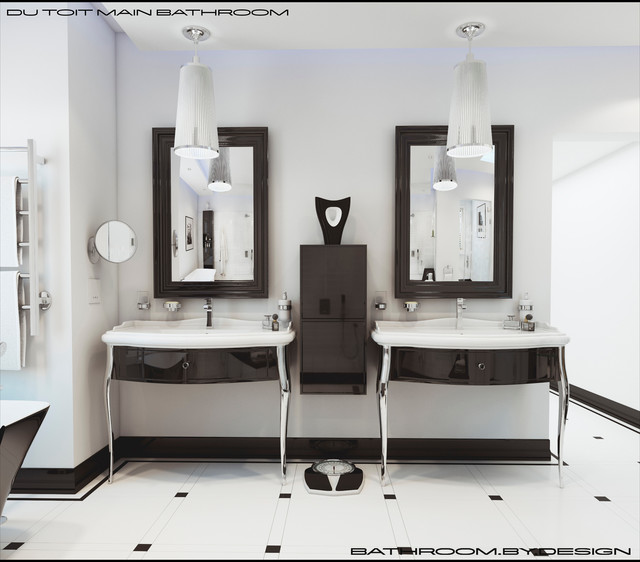 Super cool bathroom in classic black amp white eclectic