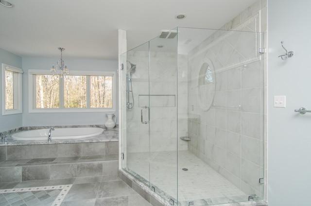 White Quartzite Bathroom super white quartzite master bathroom - traditional - bathroom