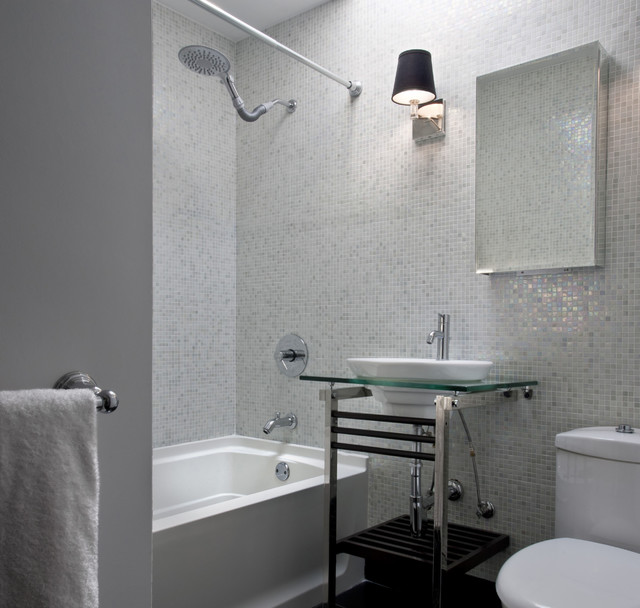 contemporary bathroom idea in dc metro with a console sink mosaic tile and white tile