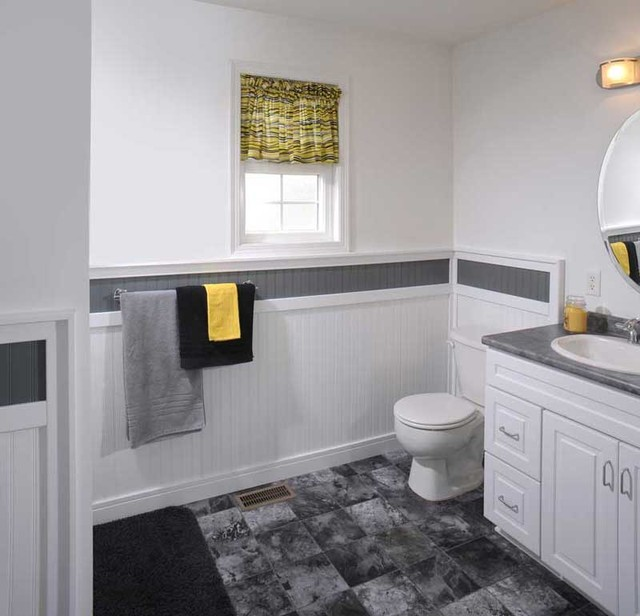 Supreme wainscot contemporary bathroom cleveland for Wainscoting bathroom