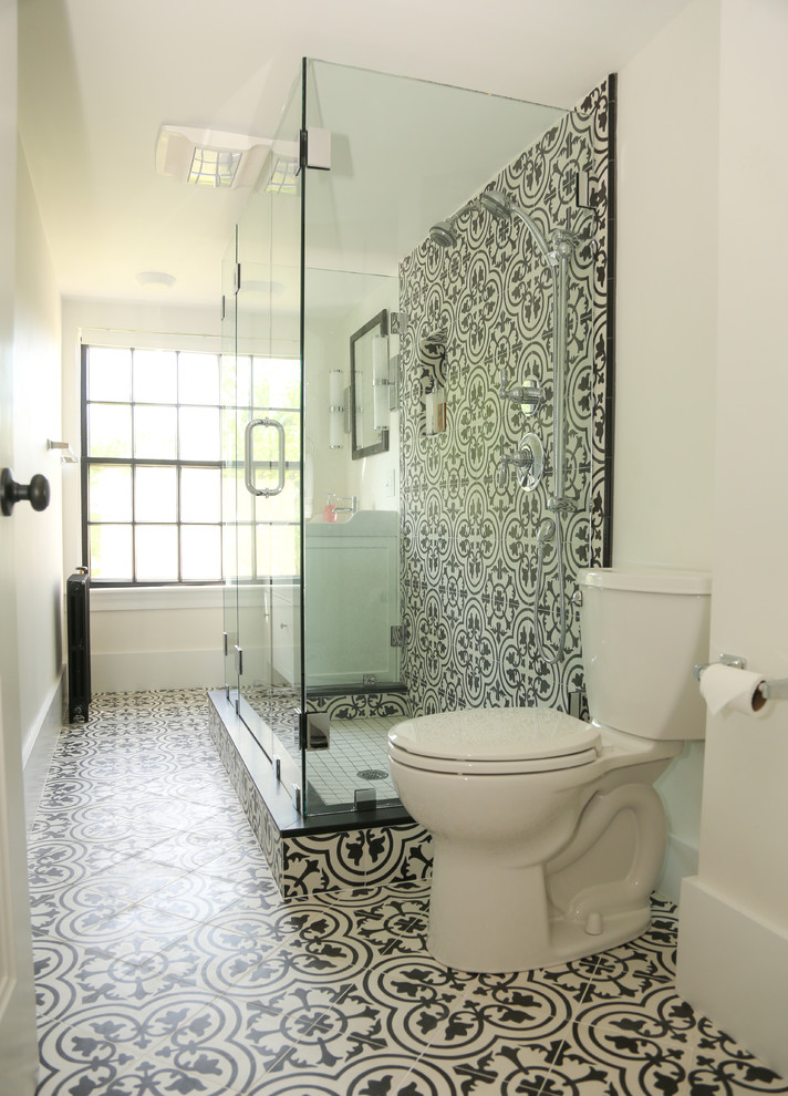 Susie Burchell S Dramatic Bathroom In Black And White Cluny Cement Tiles Transitional Bathroom Other By Granada Tile Houzz
