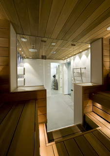 Swimming pool shower room and sauna divided by glass doors for Luxus shower doors