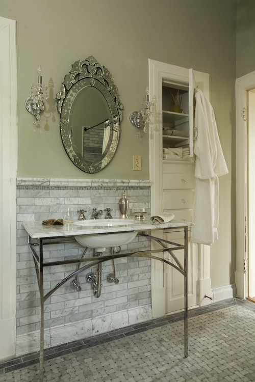 Traditional Bathroom with Marble