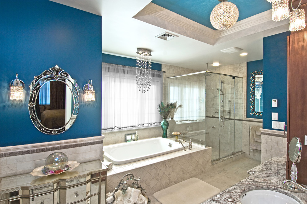 Inspiration for a timeless subway tile bathroom remodel in New York with granite countertops