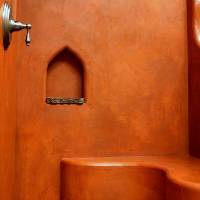 Tadelakt shower mediterranean mediterran badezimmer for Tadelakt auf fliesen