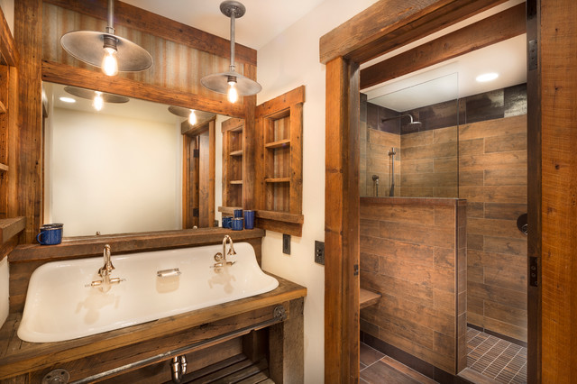 Tahoe Lakeview Rustic Bathroom Sacramento By