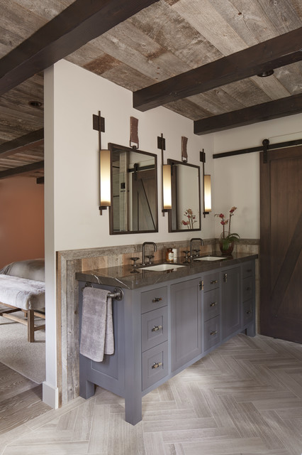 Tahoe modern rustic bathroom san francisco by for Rustic modern bathroom ideas