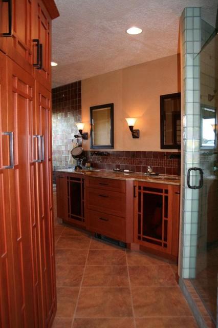 Tall Linen Storage & Vanity traditional-bathroom