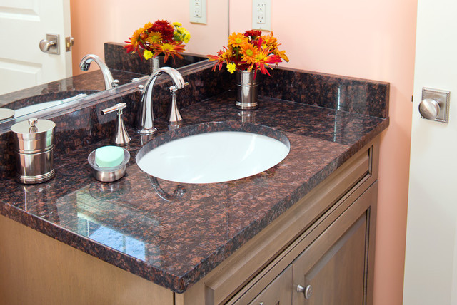 Tan Brown Granite Vanity Traditional Bathroom Boston