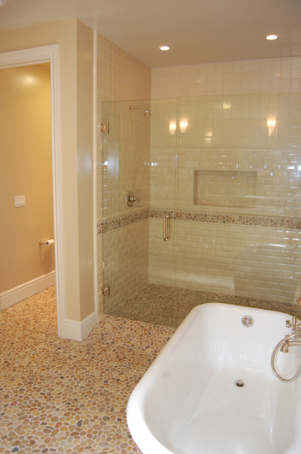 Tan Pebble Floor Contemporary Bathroom By Design For
