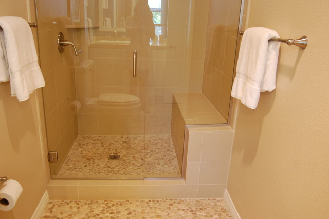 Tan Pebble Tile Showerpan Contemporary Bathroom