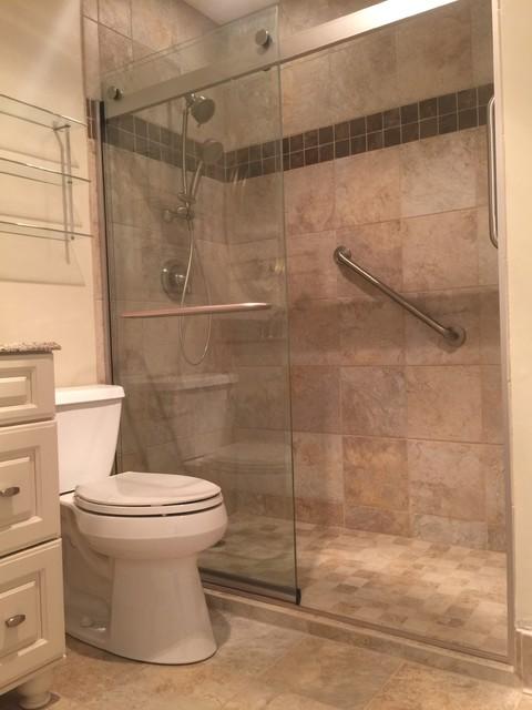 Tan tile full bathroom remodel for Full bathroom renovation