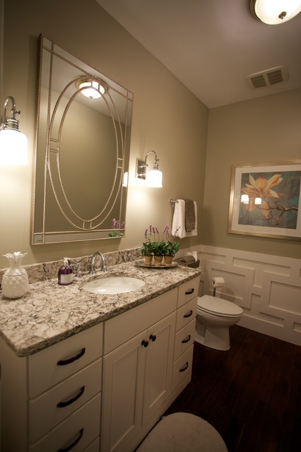 Inspiration for a transitional dark wood floor bathroom remodel in Indianapolis with an undermount sink, flat-panel cabinets, white cabinets, quartzite countertops and gray walls