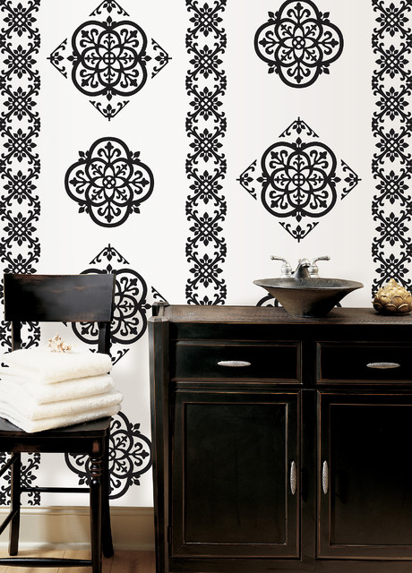 Tangier Black and White Wall Decals by WallPops eclectic-bathroom