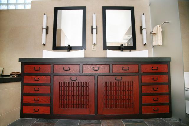 Superbe Tansu Vanity Asian Bathroom