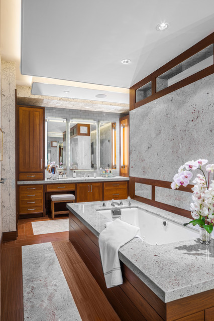Tastefully discreet contemporary bathroom boston for Home automation shower