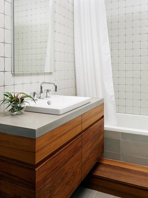 Teak and Concrete Bathroom - Williamsburg Renovation contemporary-bathroom