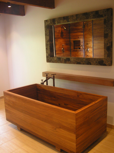 Teak Ofuro & Shower asian bathroom