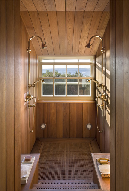 Teak Shower Beach Style Bathroom New York By Ike