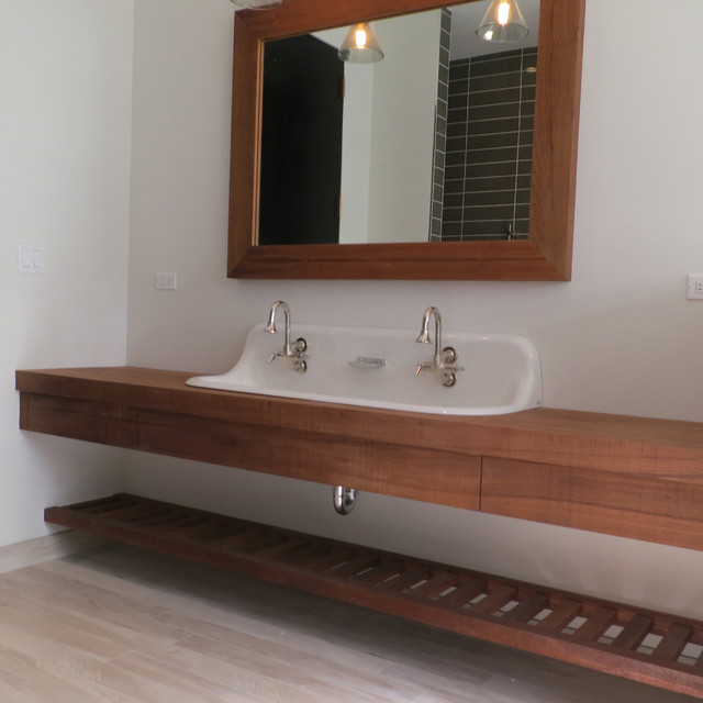 Teak Vanity And Ladder Shelf And Mirror