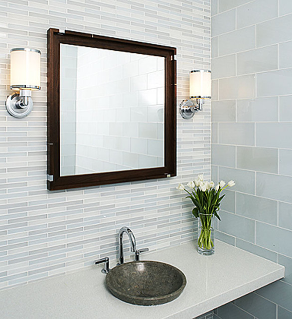 Tempo glass tile modern bathroom by interstyle for Glass tile bathroom designs