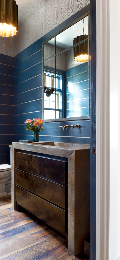 Mid-sized transitional 3/4 bathroom photo in Other with blue walls, flat-panel cabinets, dark wood cabinets, concrete countertops and an integrated sink