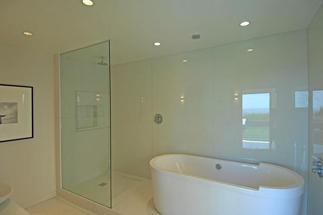 Terazzo bathroom for Glass wall panels bathroom