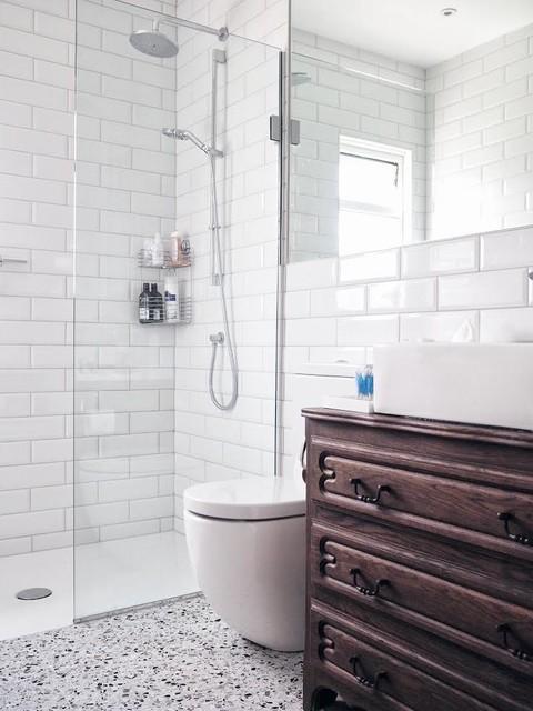 Terrazzo Floor Tiles With White Brick Tiles In A
